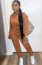Otoño Casual Marrón Crop Top y Pantalones Sweatsuit