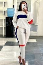 Otoño Casual Color Block Top y Pantalones Sweatsuit