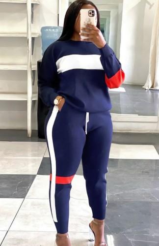 Tuta felpata con top e pantaloni autunnali casual color block