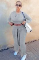 Conjunto de pantalón y top corto entallado gris casual de otoño