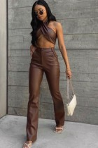 Fall Party Brown Leather Sexy Crop Top and Pants Set