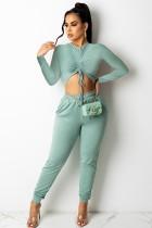 Conjunto de pantalón y top corto con pliegues sexy Fall Green Fit