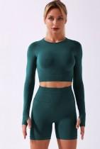 Fall Green Sports Crop Top and High Waist Shorts Yoga Set