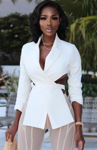 Herfst formele witte onregelmatige sexy blazer met volledige mouwen