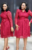 Fall Plus Size Mother of the Bride Red Lace Skater Dress