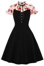 Herbst formales schwarzes Vintage-Abschlussballkleid mit kurzen Ärmeln