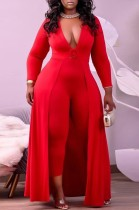 Herbst Plus Size Formaler Roter Deep-V Sexy Jumpsuit