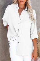 Blusa larga blanca casual de otoño con bolsillo