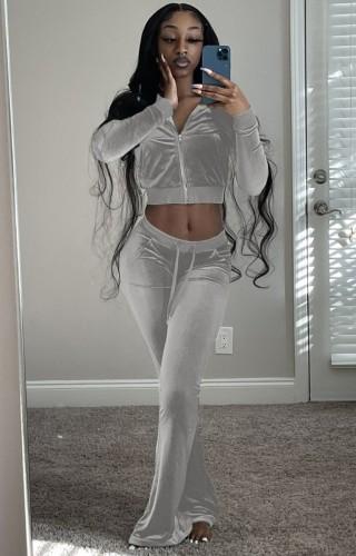 Otoño casual gris crop top y pantalones de chándal de terciopelo de 2 piezas