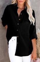 Blusa larga negra casual de otoño con bolsillo
