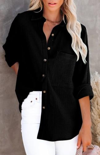 Herfst casual zwarte lange blouse met zak