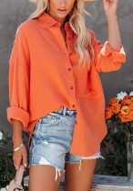 Blusa larga naranja casual de otoño con bolsillo