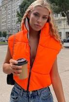 Winter oranje en grijs mouwloos omkeerbaar jack met rits