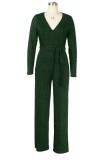 Herbstlicher formaler Jumpsuit mit V-Ausschnitt in Metallic-Grün mit Gürtel