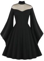 Herbst formales schwarzes Vintage-Abschlussballkleid mit weiten Ärmeln