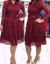 Fall Plus Size Mother of the Bride Burgunry Lace Skater Dress