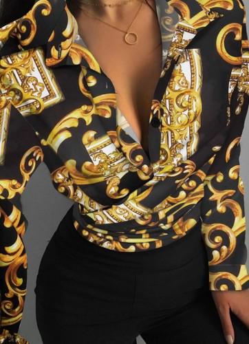 Blusa cruzada con cuello en V sexy con estampado formal de otoño