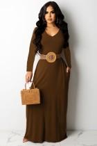 Vestido largo largo casual marrón con cuello en V de otoño