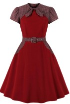 Herbst formales rotes Vintage-Kurzarm-Karo-Abschlussballkleid