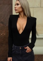 Body a maniche lunghe sexy nero a scollo profondo elegante autunno