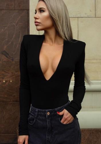 Bodysuit elegante de manga comprida sexy preto profundo V outono