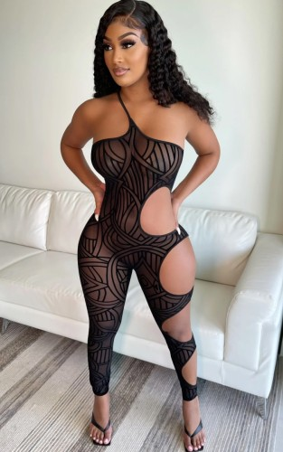 Sommer Party Print Schwarz Sexy Cut Out One Shoulder Fitted Jumpsuit