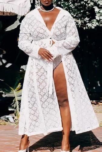 Lange, witte kanten jas voor de herfst, plus size