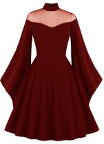 Herbst formales rotes Vintage-Ballkleid mit weiten Ärmeln