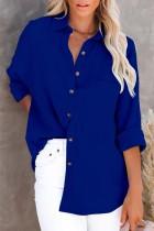 Blusa larga azul casual de otoño con bolsillo