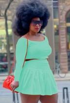 Conjunto de falda plisada y top corto verde de talla grande de otoño