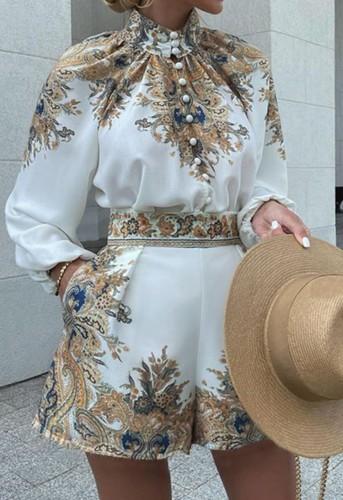 Herfst elegante retro blouse en shorts met print 2-delig professioneel pak