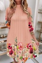 Vestido corto casual plisado floral rosa elegante de otoño