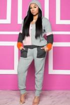 Sudadera con capucha de color en contraste de moda de invierno y pantalones de chándal de chándal