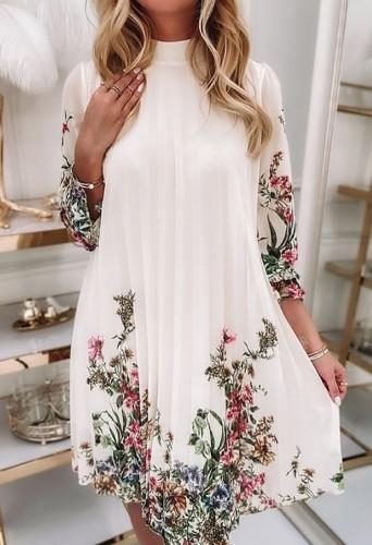 Vestido curto casual elegante branco floral pregueado