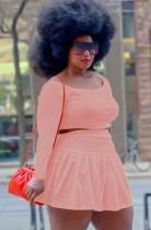 Conjunto de falda plisada y top corto rosa de talla grande de otoño