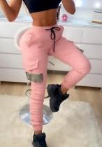 Fall Fashion Pink pantalones deportivos con cordón y bolsillos
