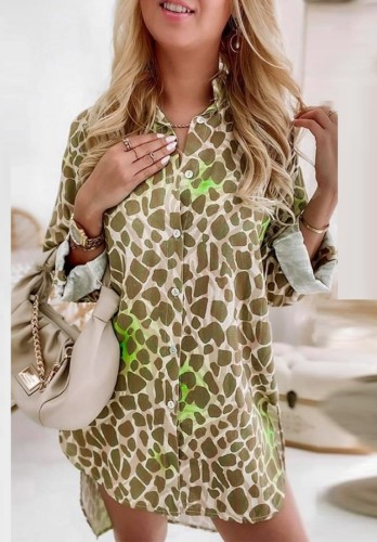 Blusa de manga larga casual de leopardo alto bajo de otoño