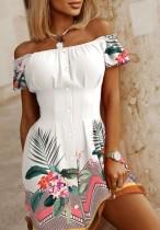 Vestido corto casual con hombros descubiertos blanco floral de verano