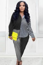 Herbst Stripes Bluse und Hose 2-teiliger Berufsanzug