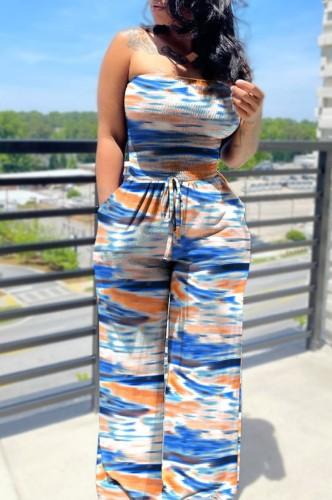 Casual strapless losse jumpsuit met zomerprint