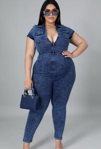 Macacão de jeans com zíper para a frente com zíper de outono