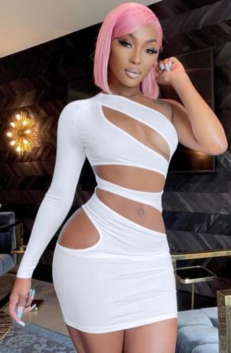 Vestido de Bodycon de manga única com corte sexy branco para festa de outono
