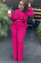 Conjunto de pantalón de cintura alta y top corto con volantes de rosas otoñales