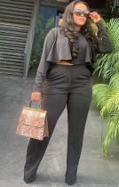 Conjunto de pantalón de cintura alta y top corto con volantes negros otoñales