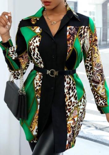 Vestido de camisa de manga comprida com estampa de leopardo outono