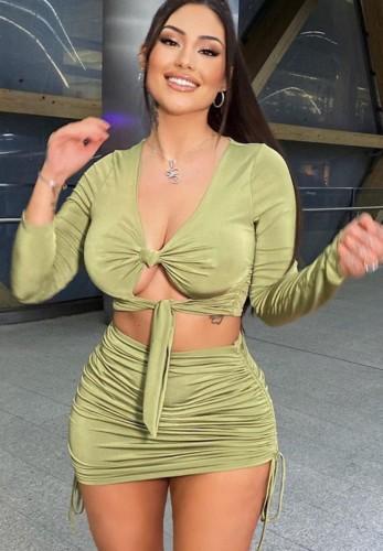Herbst Sexy Grüne Rüschen Krawatte Langarm Crop Top und Minikleid Set