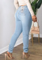 Herbst Sexy Lt-BlueBackside Bandage Fitted Jeans