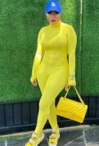 Tuta a maniche lunghe con cerniera gialla autunnale con foro per il pollice
