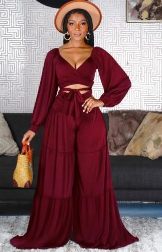 Autunno Sexy Red Scollo a V Wasit-Tie Manica Lunga Crop Top e Set di Pantaloni Larghi