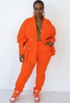 Herbst Casaul Orange Langarmshirt und Hose Set